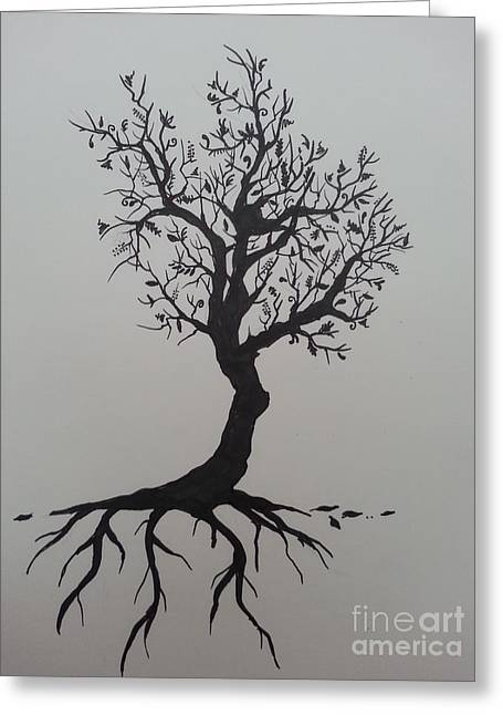 Tree Roots Drawings Greeting Cards - Tree Greeting Card by Jessica Niven