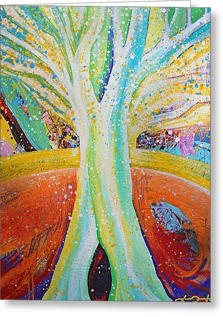 Morphing Paintings Greeting Cards - Tree Greeting Card by Laura Tarnoff