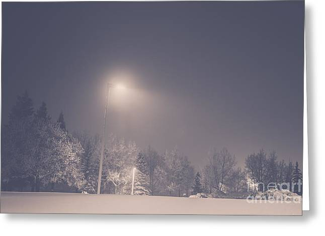 Streetlight Greeting Cards - Soft Winter Light Greeting Card by Alanna DPhoto
