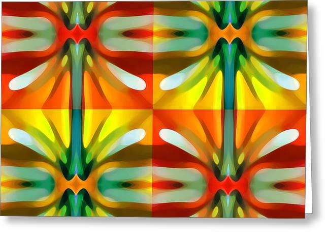 Tree Light Square Pattern Greeting Card by Amy Vangsgard