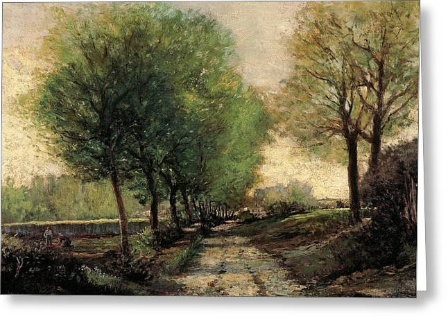 Contemporary Age Greeting Cards - Tree-lined avenue in a small town Greeting Card by Alfred Sisley