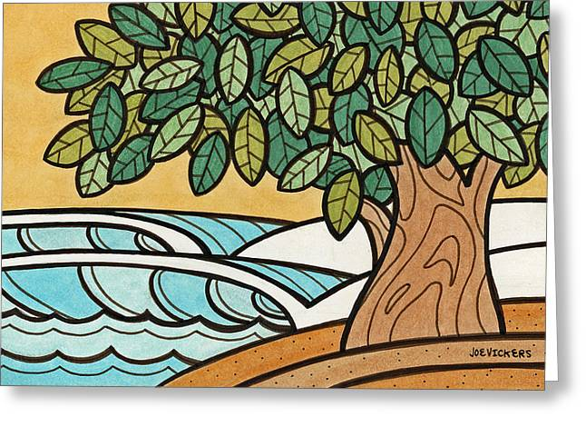 York Beach Mixed Media Greeting Cards - Tree Lines Greeting Card by Joe Vickers