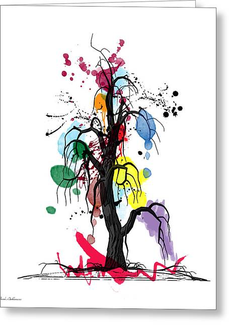 Digital Design Greeting Cards - Tree Greeting Card by Mark Ashkenazi