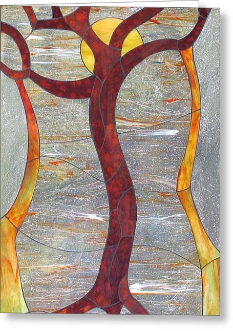 Tree Art Glass Art Greeting Cards - Tree moon Greeting Card by Suzanne Tremblay
