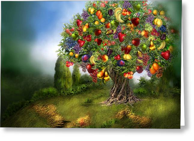 Grape Print Greeting Cards - Tree Of Abundance Greeting Card by Carol Cavalaris