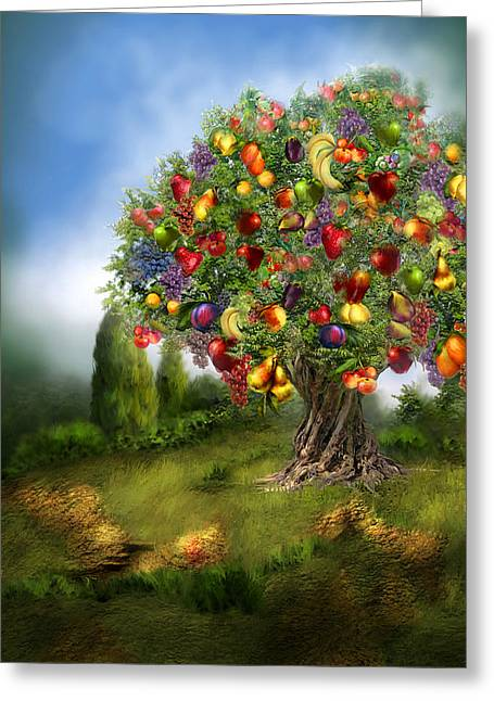 Tree Of Abundance Greeting Card by Carol Cavalaris