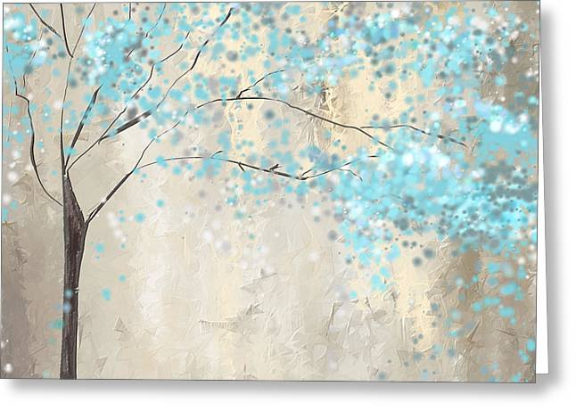 Blue Abstracts Greeting Cards - Tree Of Blues Greeting Card by Lourry Legarde