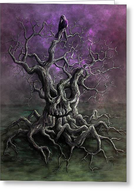 Spooky Trees Greeting Cards - Tree of Death Greeting Card by Rob Carlos