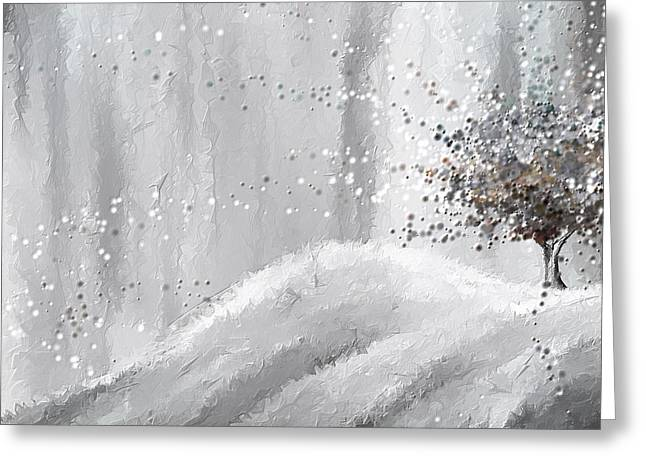 Eerie Paintings Greeting Cards - Tree of Grays Greeting Card by Lourry Legarde