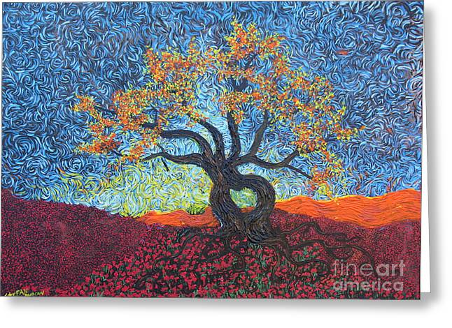 Squiggleism Greeting Cards - Tree Of Heart Greeting Card by Stefan Duncan