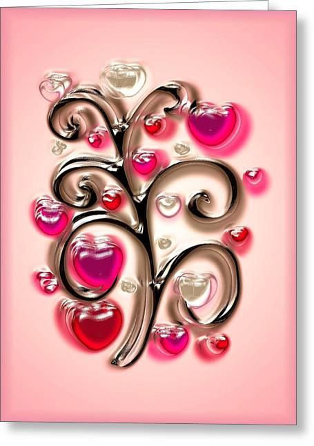 Light Of Heart Greeting Cards - Tree of Hearts Greeting Card by Anastasiya Malakhova