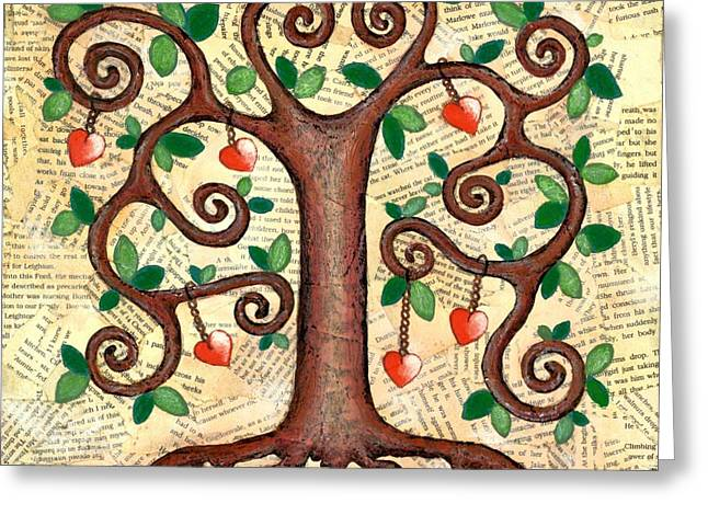 Tree Roots Mixed Media Greeting Cards - Tree of Hearts Greeting Card by Lisa Frances Judd