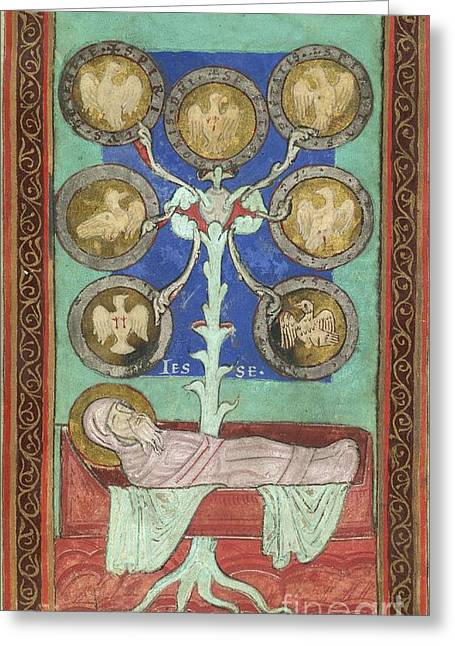 Genealogy Photographs Greeting Cards - Tree Of Jesse, 12th Century Greeting Card by British Library