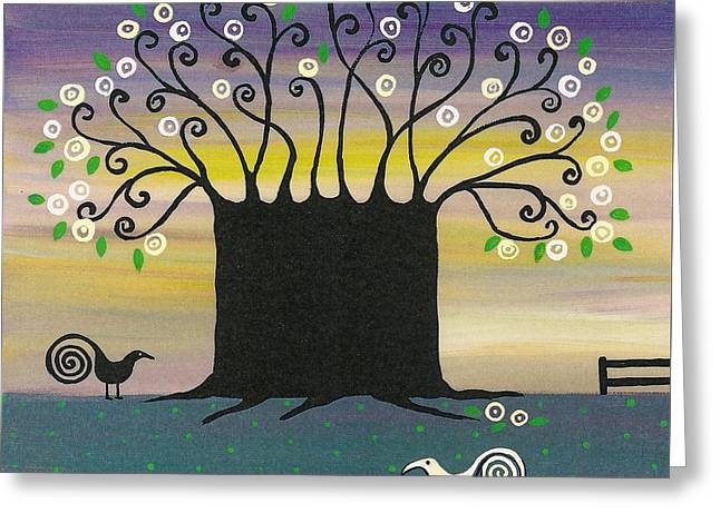 Tree Roots Paintings Greeting Cards - Tree Of Joy Greeting Card by Margaryta Yermolayeva