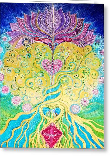 Tree Roots Paintings Greeting Cards - Tree of Life Greeting Card by Agnieszka Szalabska
