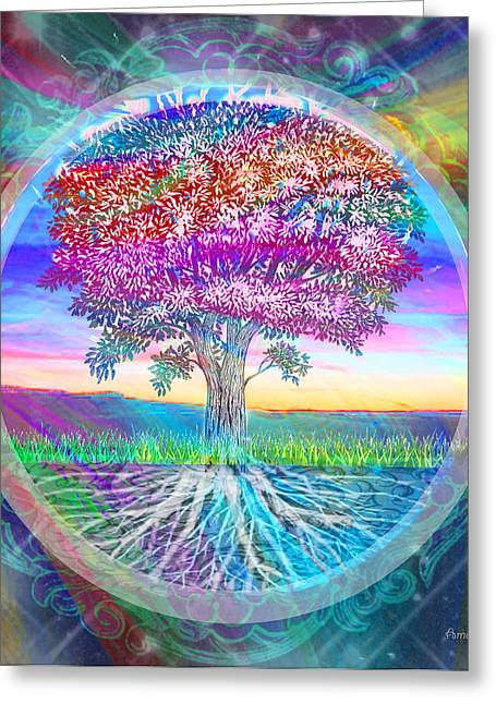 Tree Roots Mixed Media Greeting Cards - Tree of Life Greeting Card by Amelia Carrie