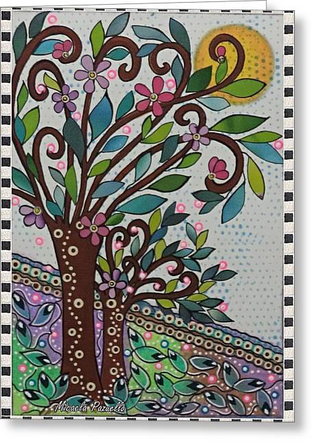 Fruit Tree Art Greeting Cards - Tree of Life and Knowledge Greeting Card by Micaela Pazuello Mica
