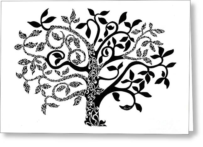Ink Drawing Greeting Cards - Tree of Life Greeting Card by Anushree Santhosh