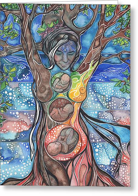 Yellow Trees Greeting Cards - Tree of Life - Cha Wakan Greeting Card by Tamara Phillips