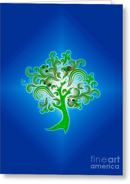 Abstract Digital Greeting Cards - Tree of Life Greeting Card by Cheryl Young