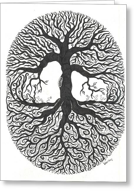 Tree Roots Drawings Greeting Cards - Tree of Life Greeting Card by Diane Pugh