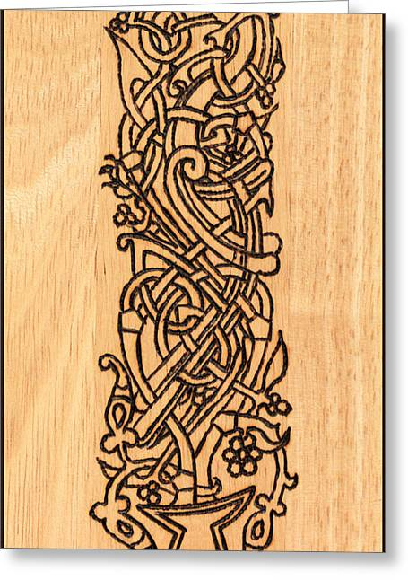 Life Line Pyrography Greeting Cards - Tree Of Life Greeting Card by Elke Wessel