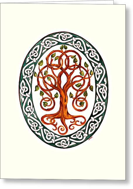 Celtic Knotwork Greeting Cards - Tree of Life Greeting Card by Ellen Starr