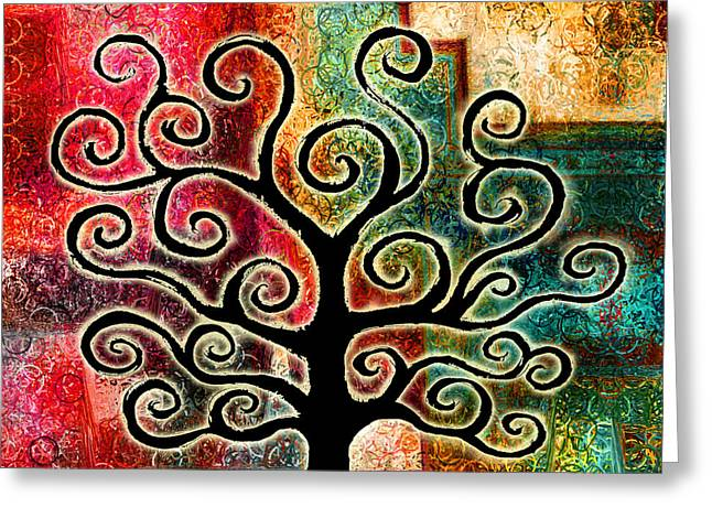 Tree Art Print Mixed Media Greeting Cards - Tree Of Life Greeting Card by Jaison Cianelli