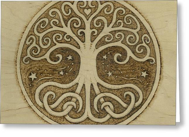 Tree Roots Pyrography Greeting Cards - Tree of Life Greeting Card by Jason Gianfriddo
