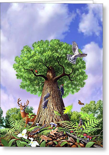 Woodpeckers Greeting Cards - Tree of Life Greeting Card by Jerry LoFaro
