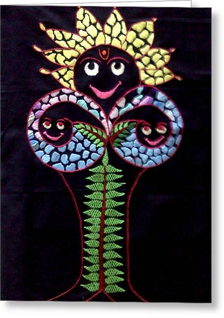 Gift Tapestries - Textiles Greeting Cards - Tree of Life Greeting Card by Kruti Shah