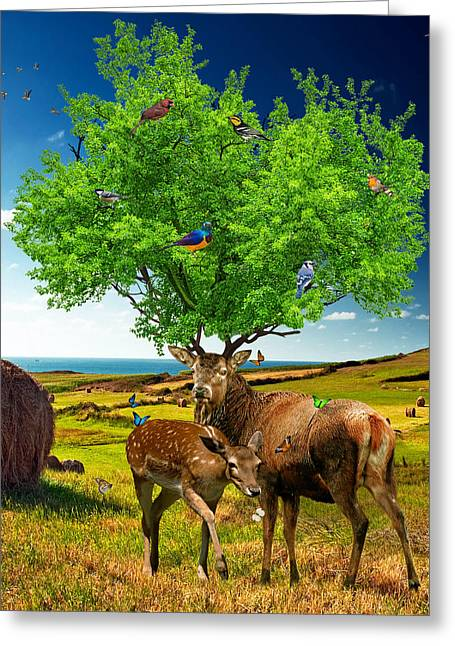 Wildlife Digital Art Greeting Cards - Tree of Life Greeting Card by Marian Voicu