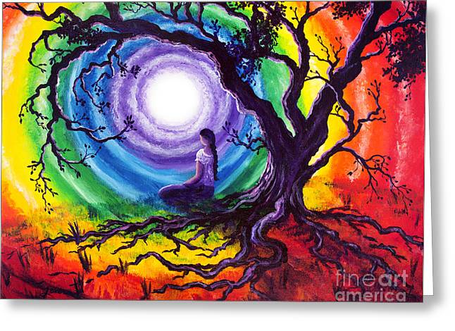 Ties Greeting Cards - Tree of Life Meditation Greeting Card by Laura Iverson
