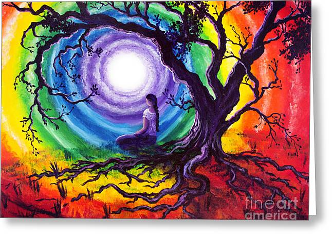 Oak Tree Paintings Greeting Cards - Tree of Life Meditation Greeting Card by Laura Iverson