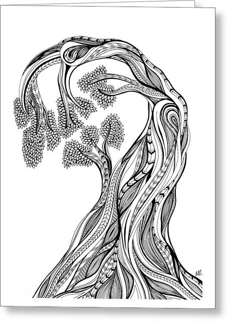 Life Line Drawings Greeting Cards - Tree of Life Greeting Card by Melissa Smith