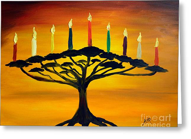 Hanukah Greeting Cards - Tree of Life Menorah Greeting Card by Avishai Avi     Peretz