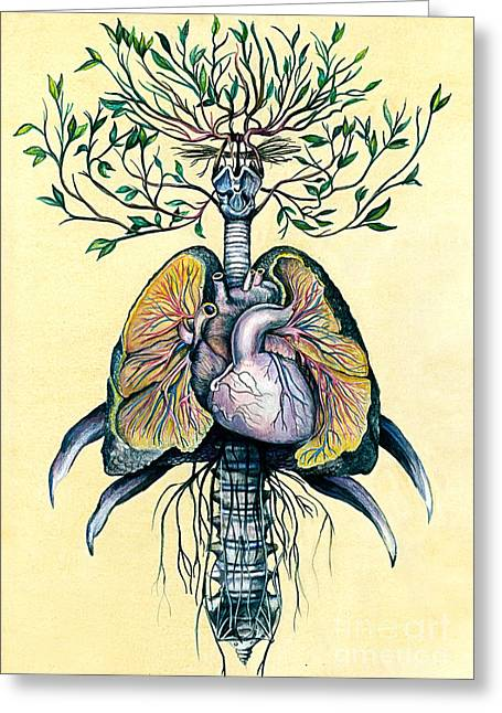 Roots Mixed Media Greeting Cards - Tree of Life Greeting Card by Michael  Volpicelli