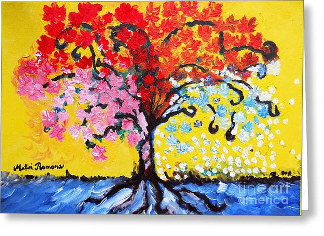 Destiny Paintings Greeting Cards - Tree of Life Greeting Card by Ramona Matei