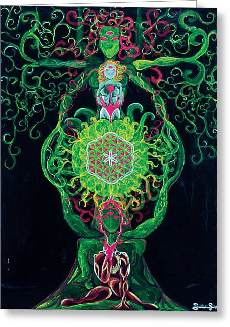 Element Of Thought Greeting Cards - Tree of Life Greeting Card by Siobhan Shier