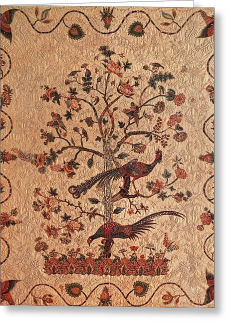 Collection Tapestries - Textiles Greeting Cards - Tree of Life With Birds Greeting Card by Artist Unidentified