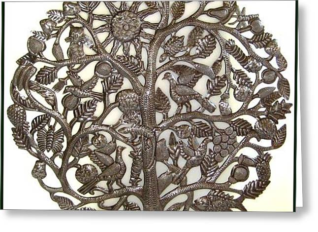 Grape Leaf Sculptures Greeting Cards - Tree of Life with Sun Greeting Card by Jacob Jean