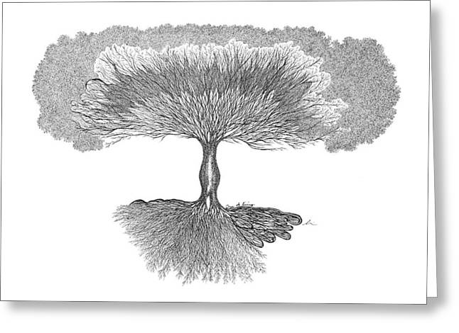 Tree Roots Drawings Greeting Cards - Tree of Living Greeting Card by Andrea Currie