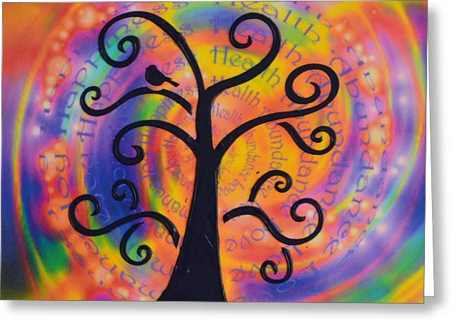 Attract Health Greeting Cards - Tree of Positive Affirmations Greeting Card by Agata Lindquist
