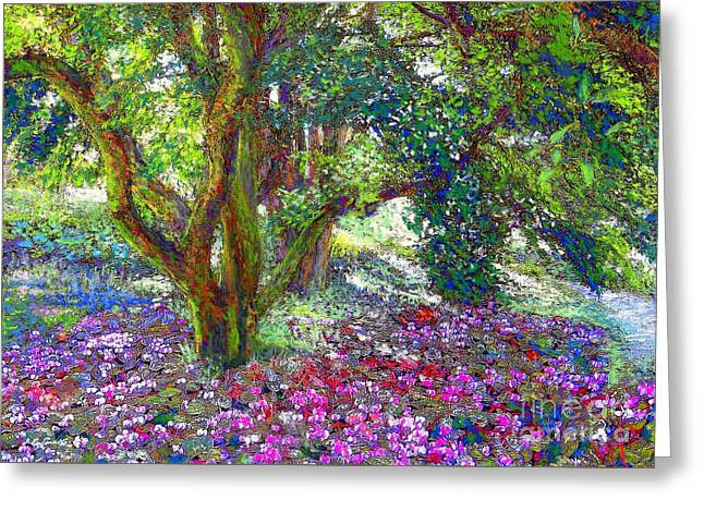 Pink Blossoms Greeting Cards - Tree of Tranquillity Greeting Card by Jane Small
