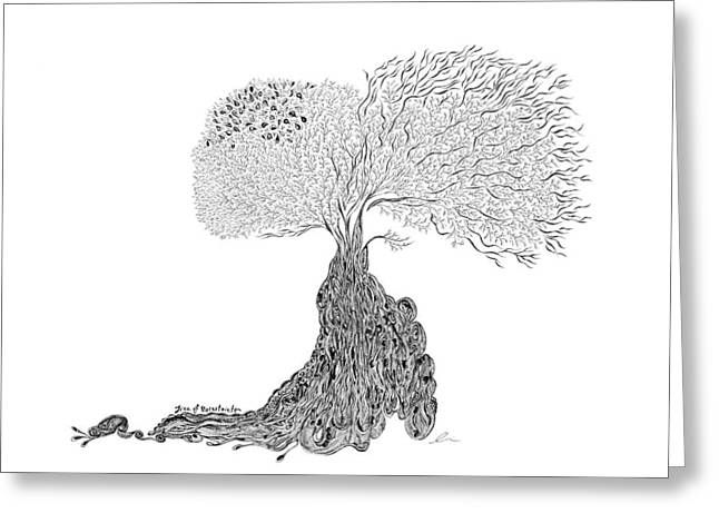Tree Roots Drawings Greeting Cards - Tree of Uncertainty Greeting Card by Andrea Currie