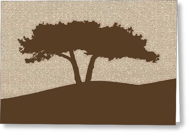 California Beach Art Greeting Cards - Tree on a Hill Greeting Card by Derek Dean