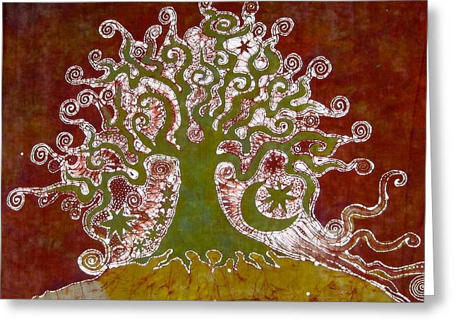 Rust Tapestries - Textiles Greeting Cards - Tree on a Hill Greeting Card by Victoria Dresdner