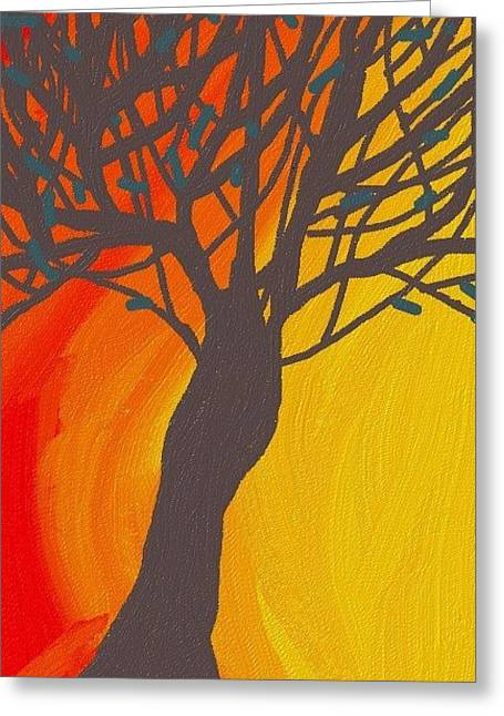 Abstract Digital Greeting Cards - Tree On Fire Greeting Card by Abstract Digital