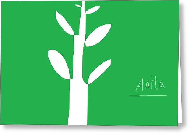 Cut-outs Drawings Greeting Cards - Tree on Green Greeting Card by Anita Dale Livaditis