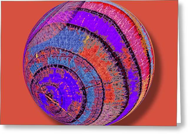 Warp Mixed Media Greeting Cards - Tree Ring Abstract Orb Greeting Card by Tony Rubino